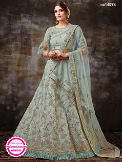 Greyish Green Raw Silk Lehenga Choli NC14974