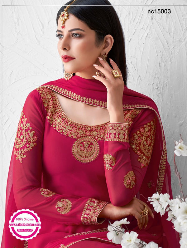 Hot Pink Georgette Palazzo Suit NC15003