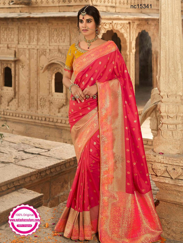 Hot Pink Silk Saree NC15341