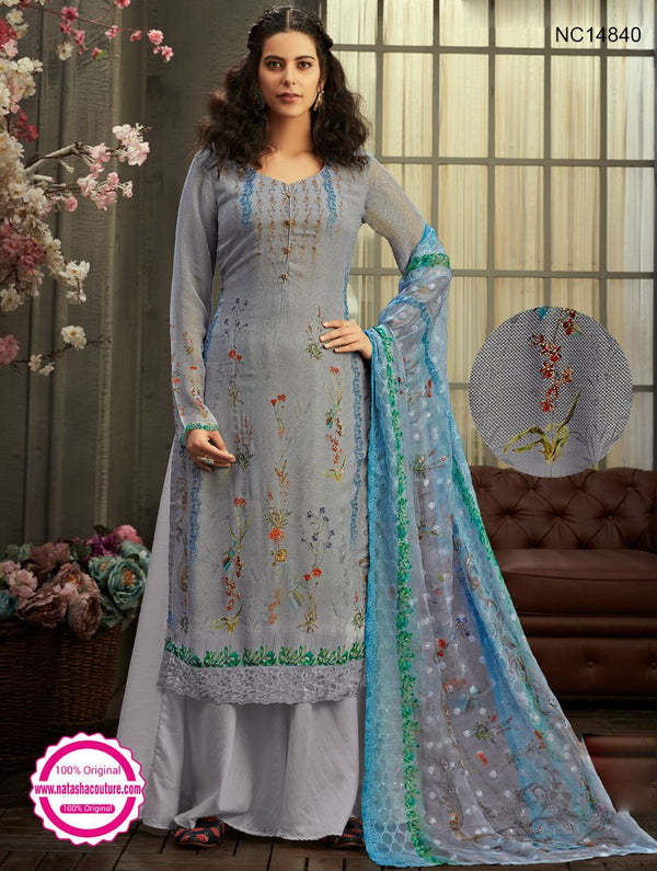 Grey Georgette Palazzo Suit NC14840
