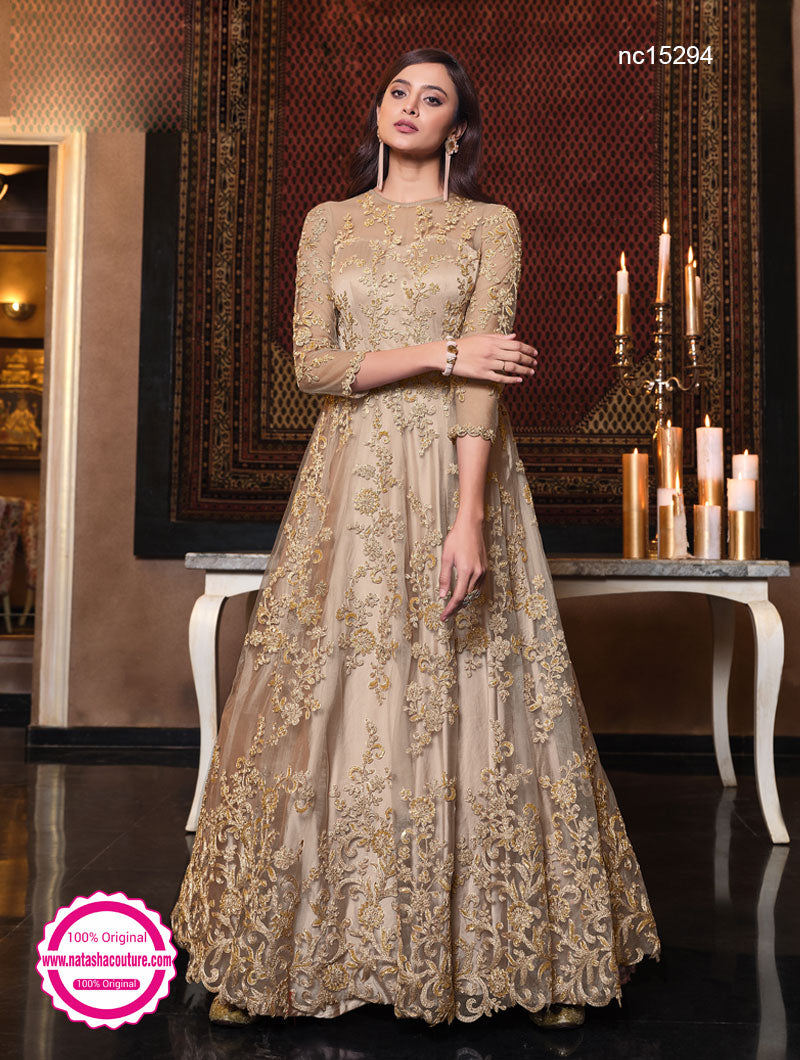 Light Beige Net Anarkali Suit NC15294