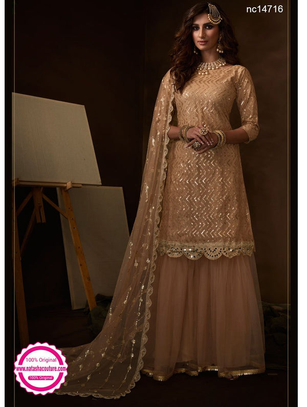 Light Beige Net Sharara Pants Suit NC14716