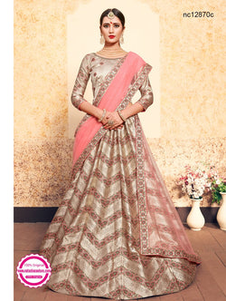 Light Beige Satin Lehenga Choli NC12870C