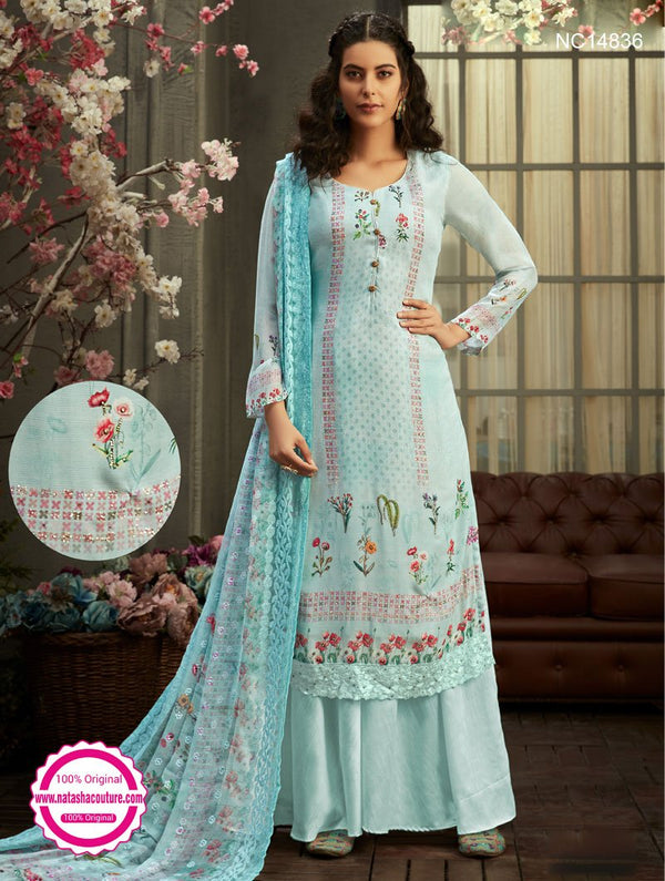 Light Blue Georgette Palazzo Suit NC14836