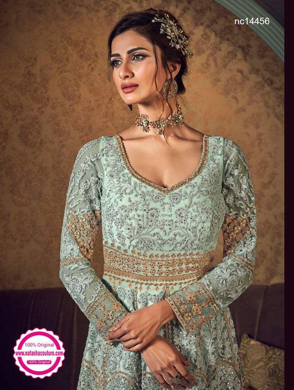 Light Blue Net Jacket Style Anarkali Suit NC14456