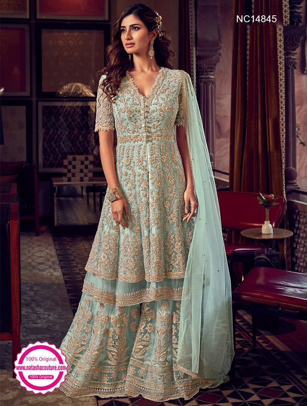 Light Blue Net Sharara Pants Suit NC14845