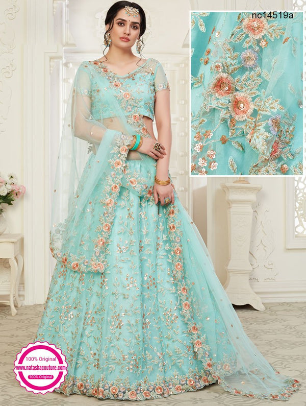 Light Blue Net & Silk Bridal Lehenga Choli NC14519A