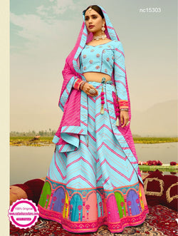 Light Blue Silk Printed Lehenga Choli NC15303