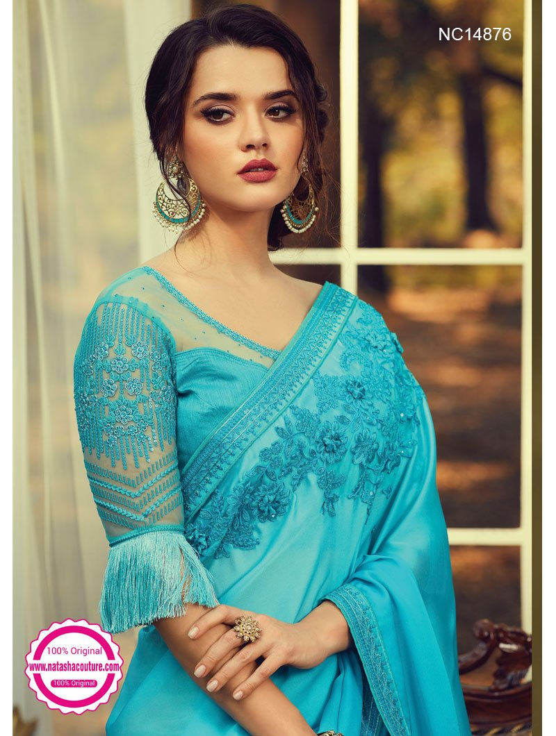 Light Blue Silk Saree NC14876