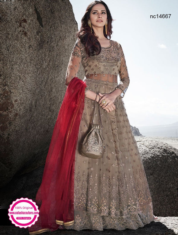 Light Brown Net Anarkali Lehenga NC14667