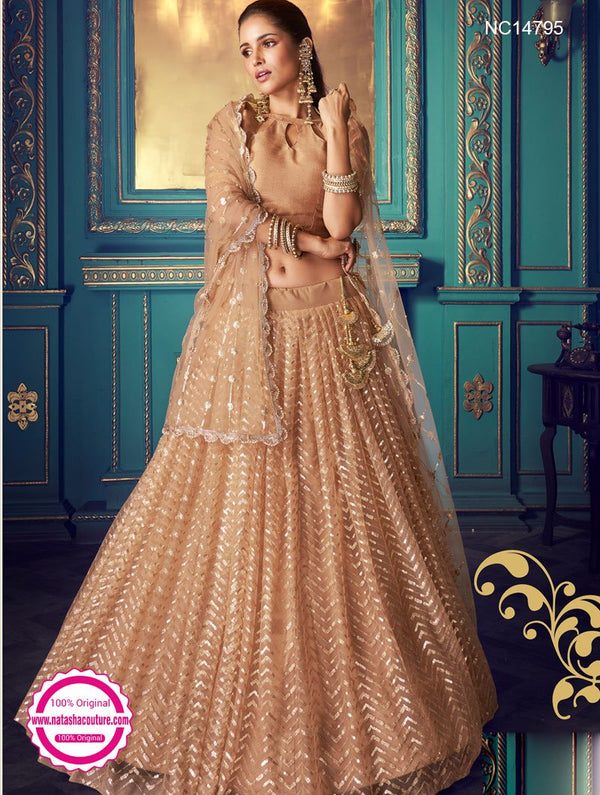 Light Brown Net Sequins Lehenga Choli NC14795