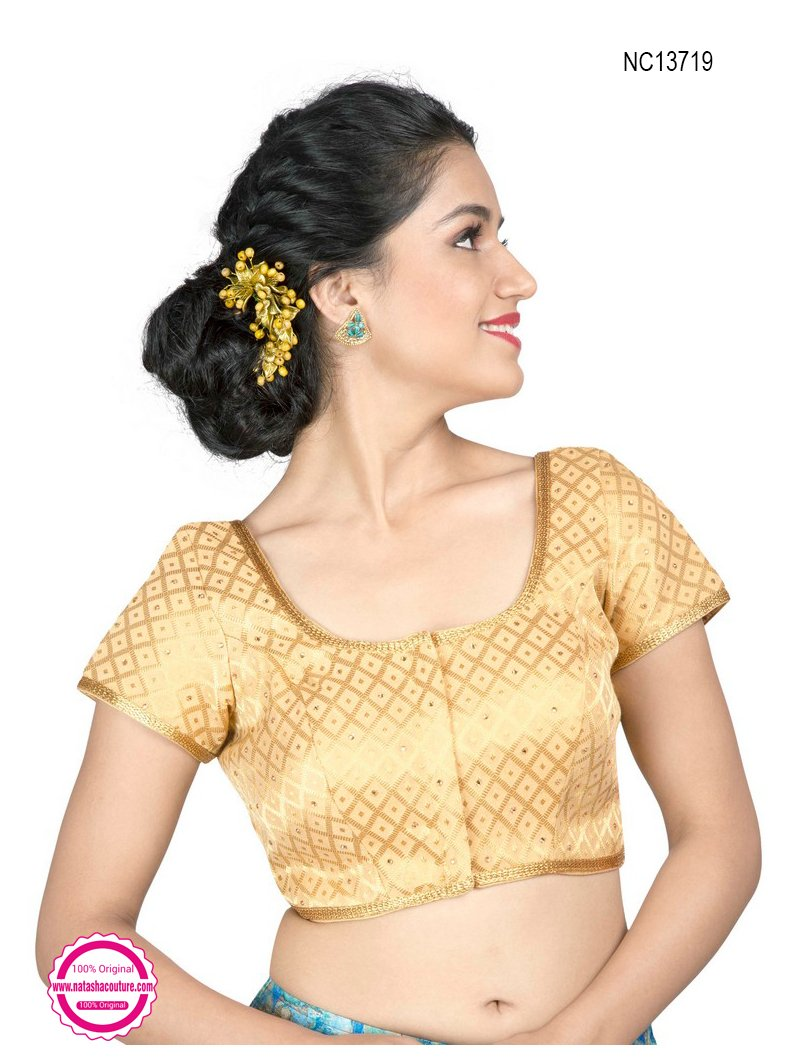Light Gold Brocade Designer Readymade Blouse NC13719