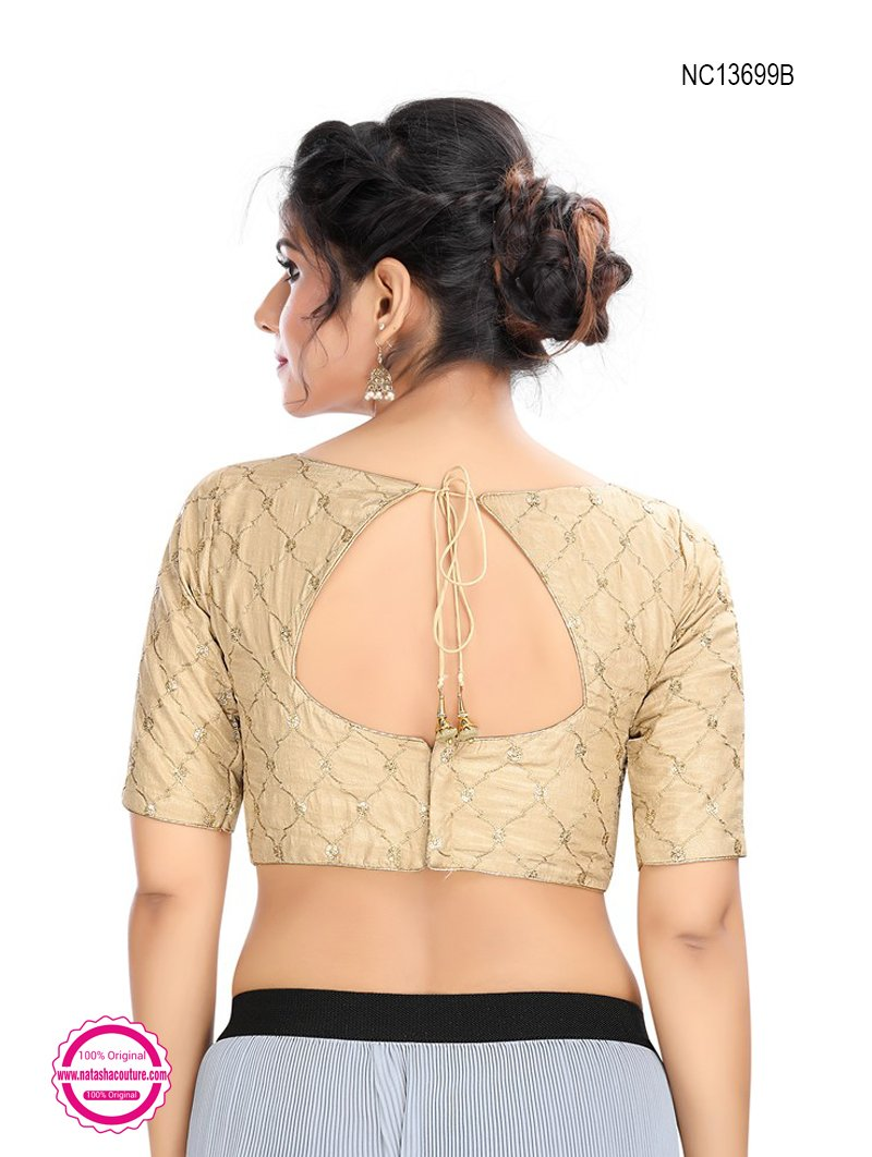 Light Gold Silk Embroidered Readymade Blouse NC13699B