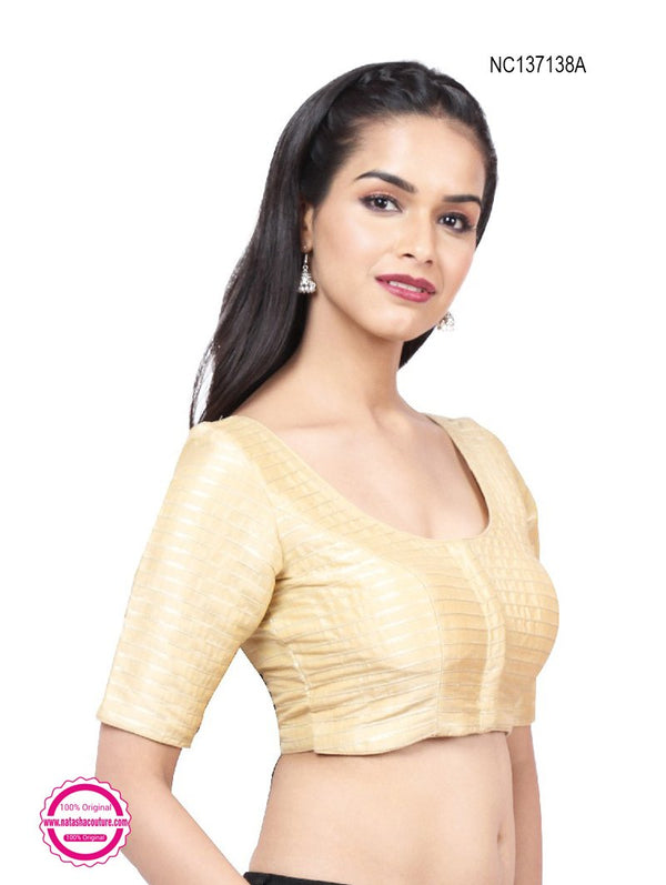 Light Gold Silk Readymade Blouse NC137138A
