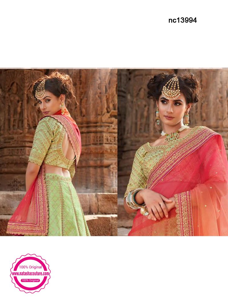 Light Green Handloom Silk Lehenga Choli NC13994