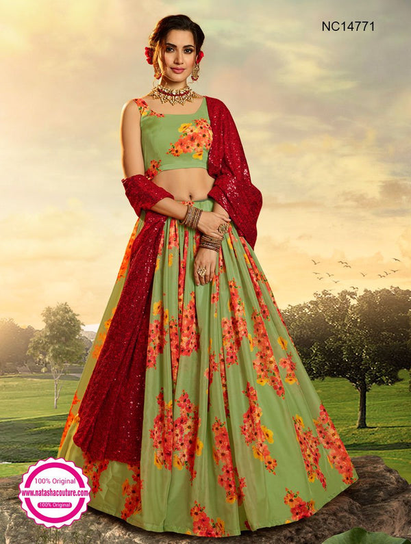 Light Green Organza Floral Printed Lehenga Choli NC14771