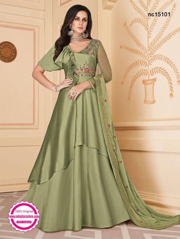 Light Green Silk Anarkali Suit NC15101