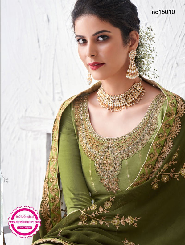 Light Green Silk Palazzo Suit NC15010