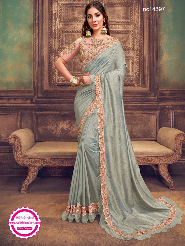 Light Grey Dual Tone Silk Georgette Saree NC14697