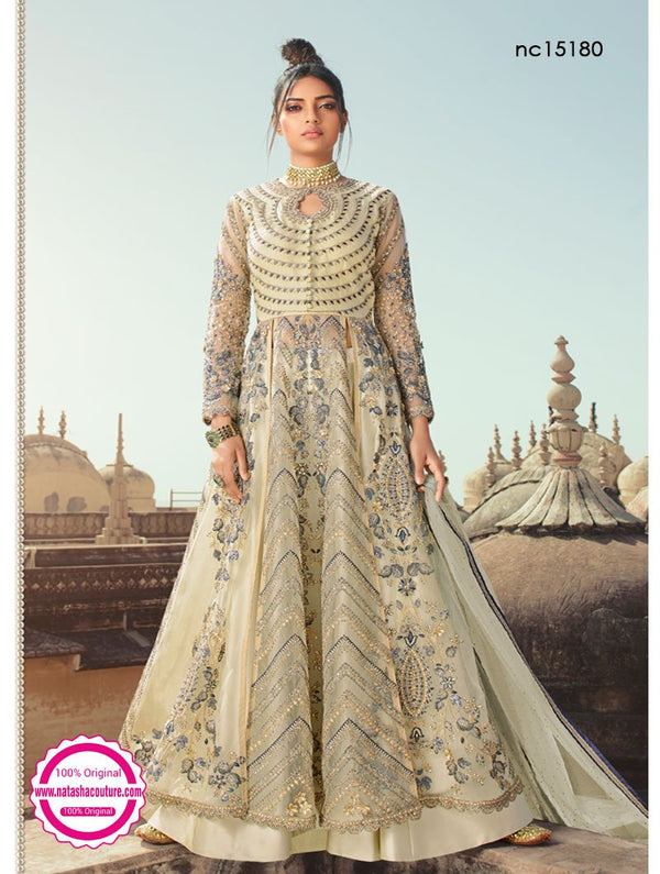 Light Grey Net & Silk Anarkali Lehenga NC15180
