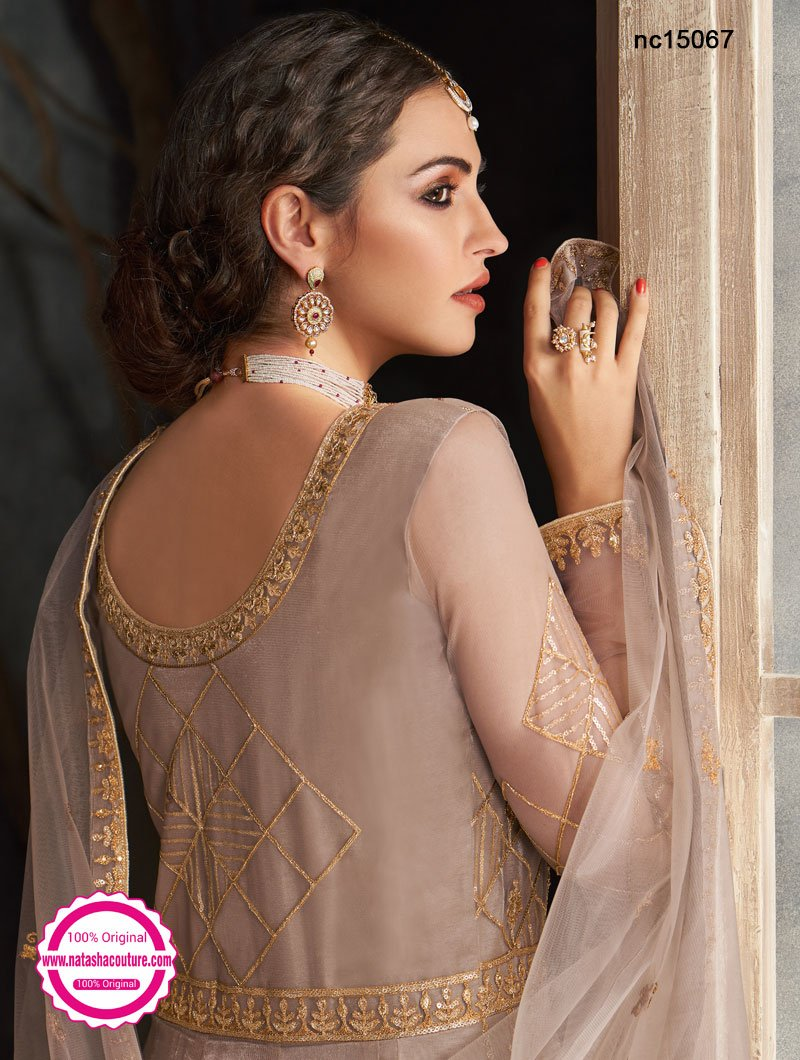 Light Grey Net Anarkali Suit NC15067