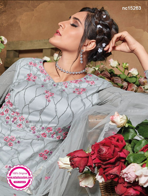 Light Grey Net Anarkali Suit NC15263