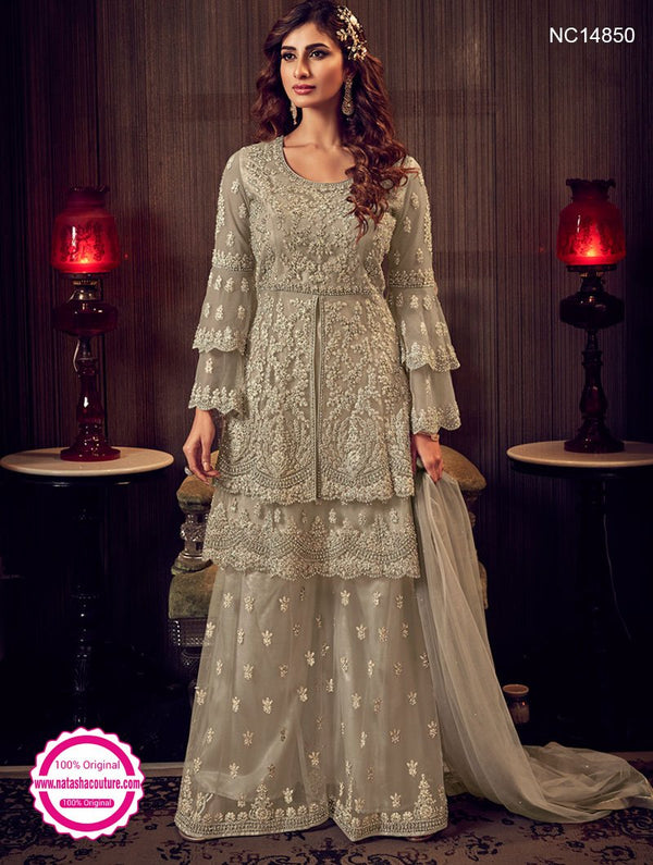 Light Grey Net Sharara Pants Suit NC14850