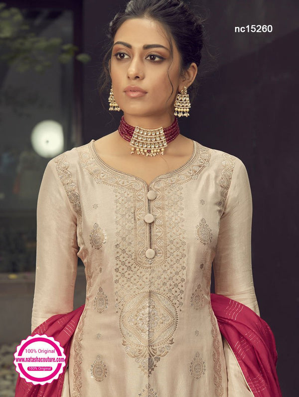 Light Grey Silk Jacquard Palazzo Suit NC15260