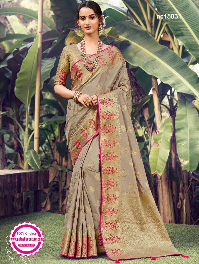 Light Grey Silk Saree NC15031