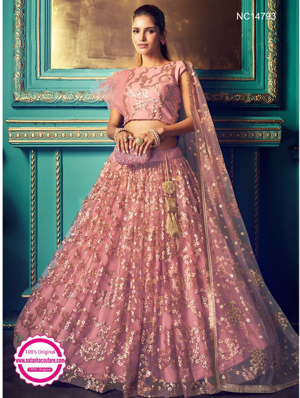 Light Lavender Net Sequins Lehenga Choli NC14793