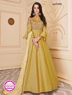 Light Mustard Silk Anarkali Suit NC15100