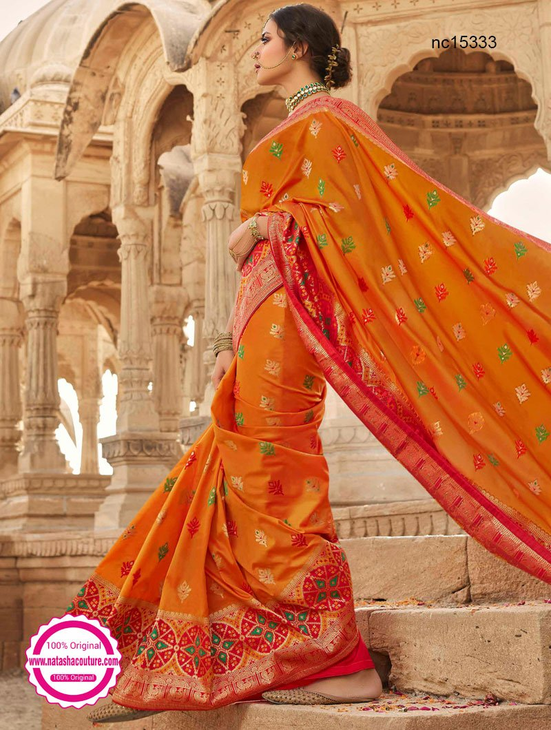 Light Orange & Red Silk Saree NC15333