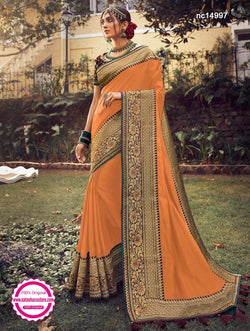 Light Orange Tussar Silk Saree NC14997