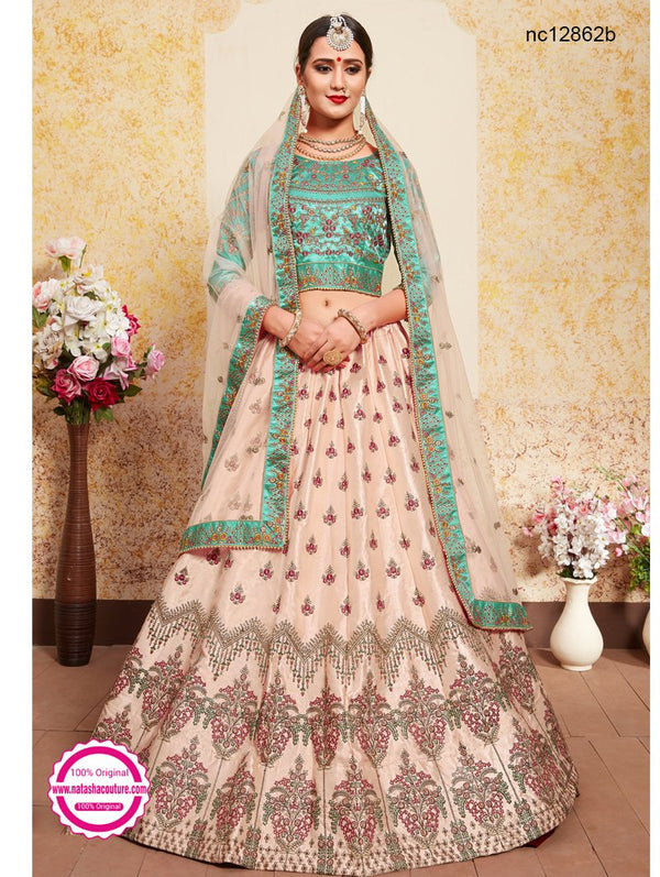 Light Peach Satin Lehenga Choli NC12862B