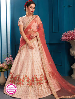 Light Pink Satin Lehenga Choli NC11880