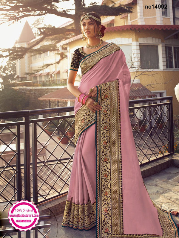 Light Pink Tussar Silk Saree NC14992