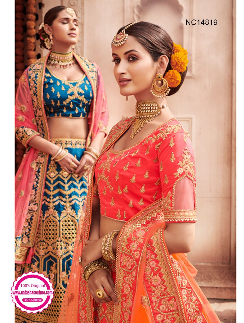 Light Red Silk Bridal Lehenga Choli NC14819