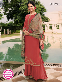 Light Red Tussar Silk Palazzo Suit NC14778