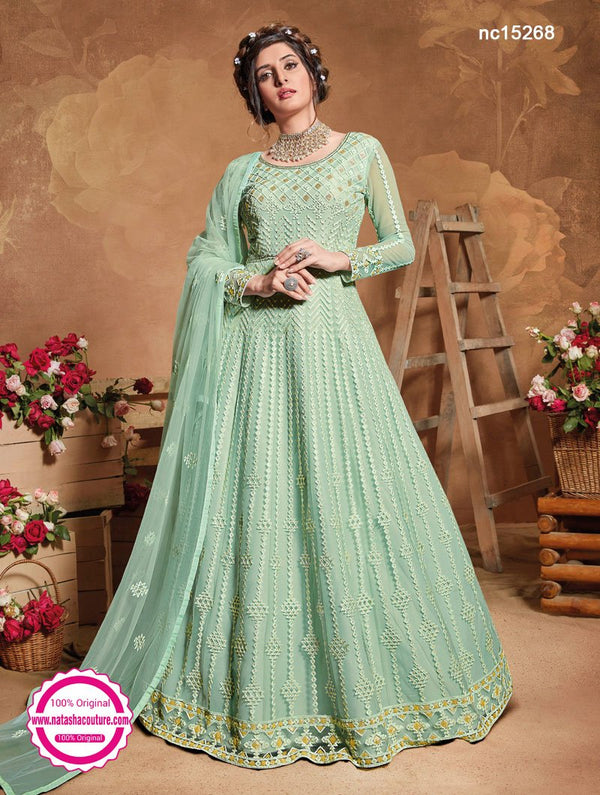 Light Sea Green Net Anarkali Suit NC15268