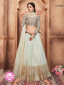 Light Turquoise Blue Net Lehenga Choli NC12826