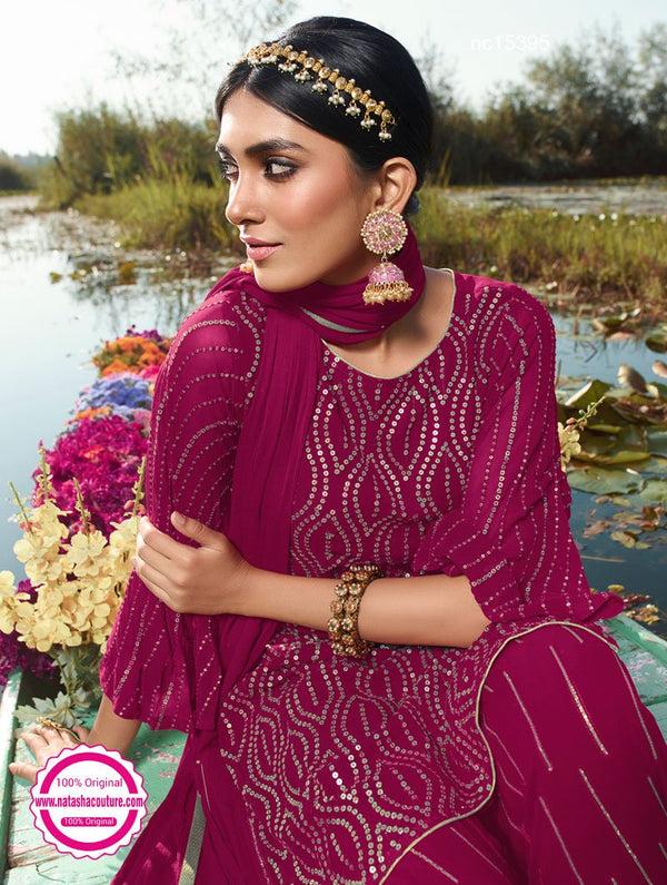 Magenta Pink Georgette Palazzo Suit NC15395