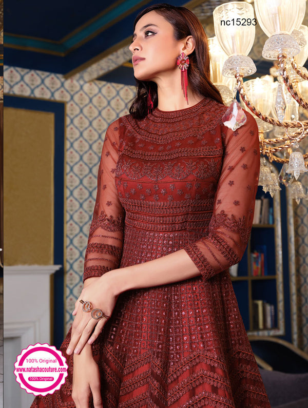 Maroon Net Anarkali Suit NC15293