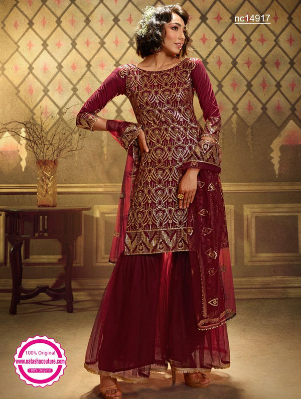 Maroon Net Sharara Pants Suit NC14917