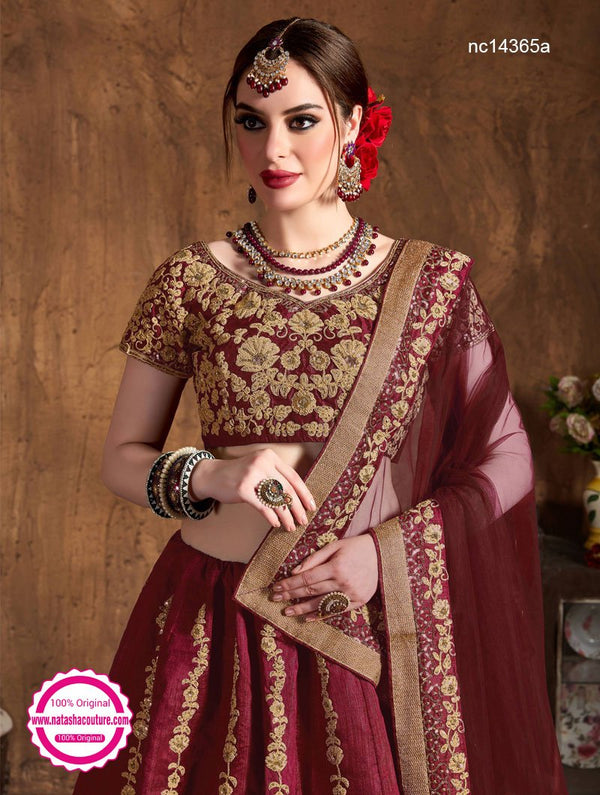 Maroon Raw Silk Wedding Wear Lehenga Choli NC14365A