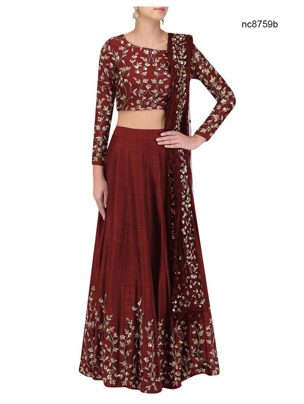 Maroon Silk Bollywood Lehenga Choli NC8759B