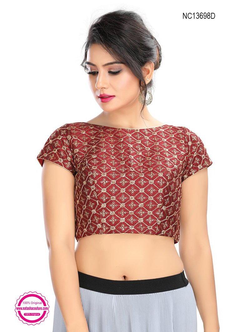 Maroon Silk Embroidered Readymade Blouse NC13698D