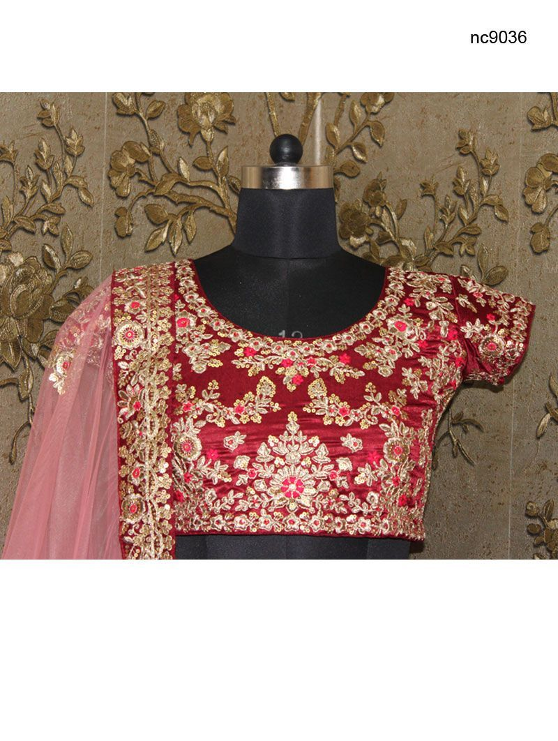 Maroon Silk Velvet Bollywood Bridal Lehenga Choli NC9036
