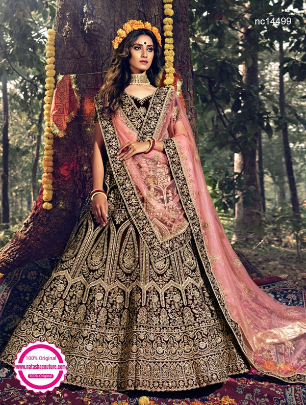 Maroon Velvet Wedding Lehenga Choli NC14499