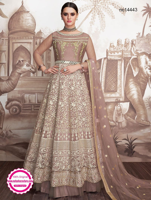 Mauve Brown Georgette & Net Readymade Anarkali NC14443