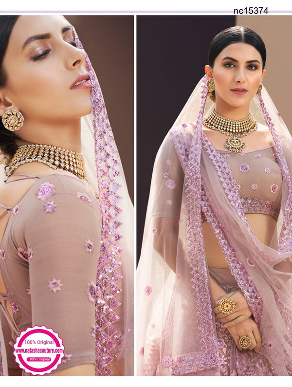 Mauve Pink Net Embroidered Lehenga Choli NC15374